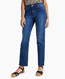 Petite High Rise Natural Straight-Leg Jeans, Created for Macy's