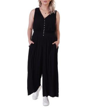 Plus Size Smocked Waist Button Front Jumpsuit