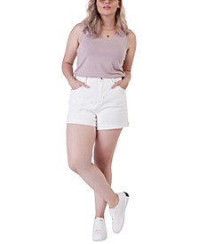 Plus Size Denim Mom Shorts
