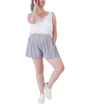 Plus Size Smocked Waist Striped Shorts