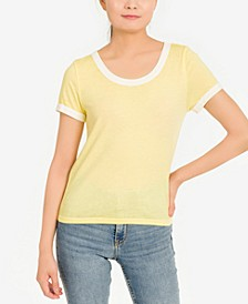 Juniors' Burnout Ringer T-Shirt