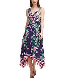 Floral-Print Handkerchief-Hem Dress