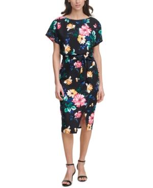 Printed Scuba Crepe Sheath Dress