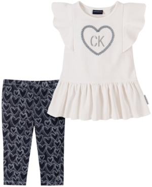 Calvin Klein LITTLE GIRLS SIGNATURE TOP AND PRINTED LEGGINGS SET, 2 PIECE
