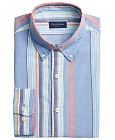 Men's Slim-Fit Awning Stripe Dress Shirt, Created for Macy's