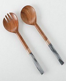 Laurie Gates Two piece serving set in wood and marble