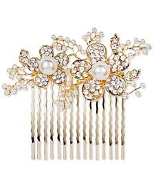 INC Gold-Tone Pavé & Imitation Pearl Flower Hair Comb, Created for Macy's