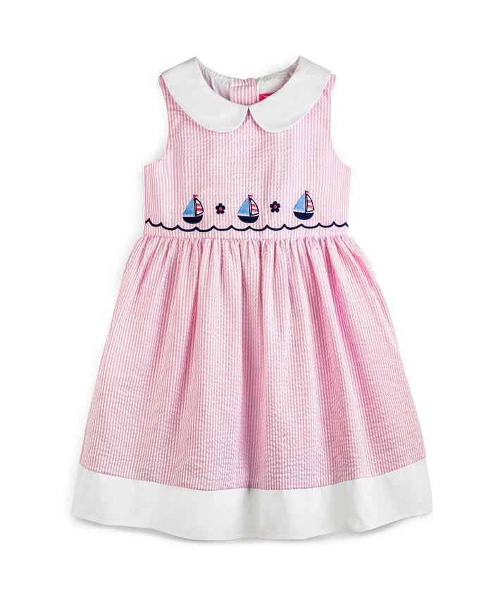 Good Lad - Little Girls Sleeveless Seersucker Nautical Embroidered Dress