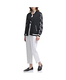 Lace Sleeve Bomber Jacket