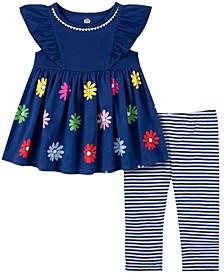 Little Girls 2-Piece Floral Babydoll and Striped Capri Leggings Set