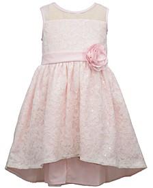 Little Girls Sleeveless Sequin Lace High Low Dress