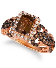 Chocolatier® Chocolate Quartz (3/4 ct. t.w.) & Diamond (5/8 ct. t.w.) Ring in 14k Rose Gold