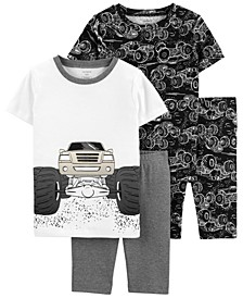 Little Boys Trucks Loose Fit Pajamas, 4 Pieces