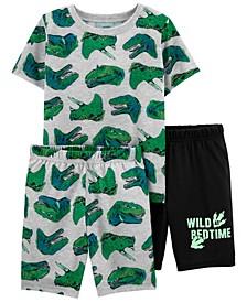 Big Boys Wild Dinos Loose Fit Pajamas, 3 Pieces