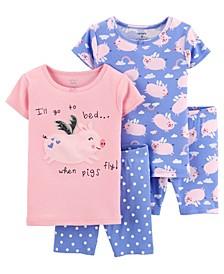 Baby Girls Pig Cotton Pajamas, 4 Pieces