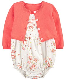 Baby Girls Cardigan and Romper Set, 2 Pieces