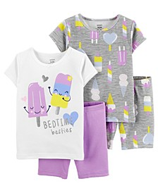 Baby Girls Ice Cream Cotton Pajamas, 4 Pieces