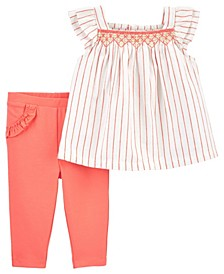 Baby Girls Flutter Top and Pant Set, 2 Pieces