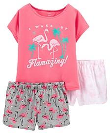 Little Girls Flamingo Loose Fit Pajamas, 3 Pieces