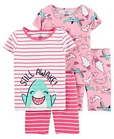 Little Girls Shark Cotton Pajamas, 4 Pieces
