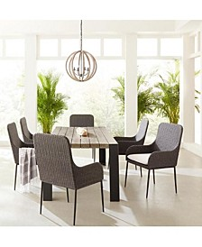 """Cedar Key 7-Pc Dining Set ( 85"""" x 32"""" Rect Dining Table +  6 Antilles Side Chairs), with Sunbrella® Cushions"""