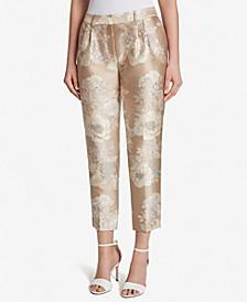 Metallic Floral Jacquard Pants