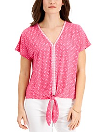 Petite V-Neck Tie-Front Top, Created for Macy's
