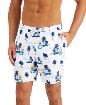 "Men's Regular-Fit Quick-Dry Tropical-Print 7"" Swim Trunks"