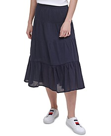 Cotton Tiered Midi Skirt