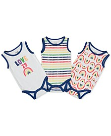 Baby Boys or Girls 3-Pack Pride Printed Cotton Bodysuits
