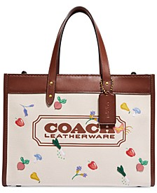 Field Tote With All Over Garden Embroidered Coach Badge