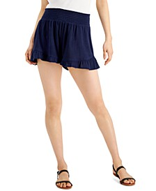 Juniors' Ruffled-Hem Smocked Shorts