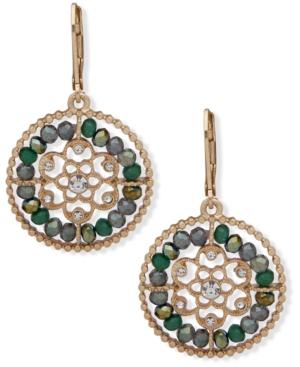 Gold-Tone Crystal & Stone Beaded Openwork Flower Drop Earrings