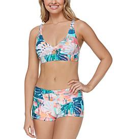 Juniors' Vieques Twist-Front Bikini Top & Surf Shorts