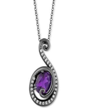 Amethyst (7/8 ct. t.w.) & Diamond (1/5 ct. t.w.) Ursula Pendant Necklace in Sterling Silver & Black Rhodium