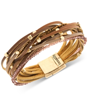 Gold-Tone Beaded & Faux-Leather Multi-Row Magnetic Bracelet