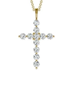 Moissanite Cross Pendant 1-1/10 ct. t.w. Diamond Equivalent in 14k White or Yellow Gold