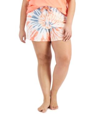 Plus Size Cotton Tie-Dyed Pajama Shorts