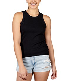 Juniors' Cinched Side Ribbed Tank Top