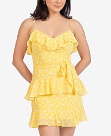 Juniors' Printed Ruffled Sleeveless Dress