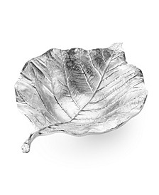 """12.5""""L Silver Leaf Shaped -Vein Engraved Bowl"""