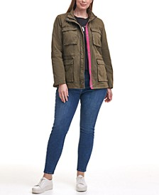 Trendy Plus Size Cotton-Twill Stand-Collar Military Jacket