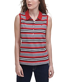 Striped Sleeveless Polo