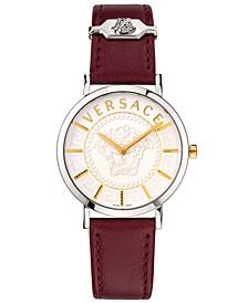 Women's Swiss V Essential Burgundy Leather Strap Watch 36mm