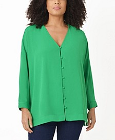 Plus Size Button Through Blouse