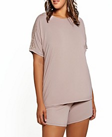 Plus Size Estelle Modal and Lace Short Sleeve Top and Short Pajama, Set of 2