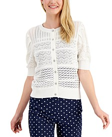 Petite Puff Elbow-Sleeve Cardigan Sweater, Created for Macy's