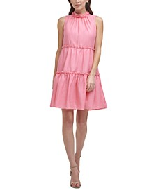 Petite Mock-Neck Tiered Baby-Doll Dress