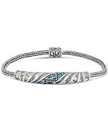 Blue Topaz Bali Heritage Signature Bracelet with Woven Dragon Bone Oval Chain in Sterling Silver and 18K Gold