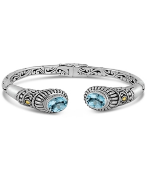 Blue Topaz Bali Heritage Bamboo Classic Cuff Bracelet in sterling silver and 18K Gold